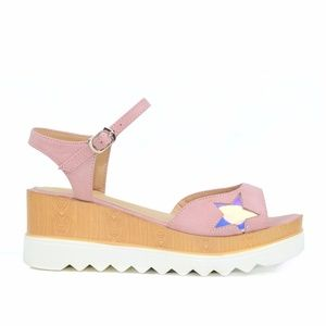 Chase & Chloe Tyson-3 Pink Low Wedge Sandal