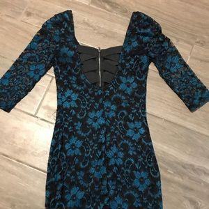 Black & Teal Lace Bodycon Dress