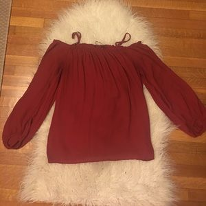 Red Zara off the shoulder blouse