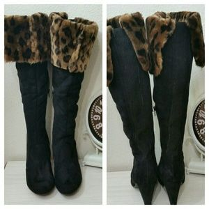 Knee High Faux Suede Boots, Leopard Trim 10
