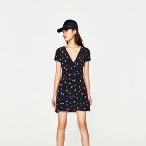 Zara Banana Print V-Neck Dress