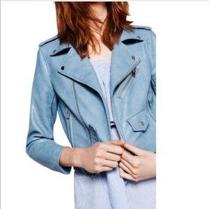 Zara Faux Leather Moto Blue Jacket