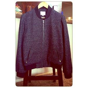Ann Taylor Loft black woven sweater bomber jacket