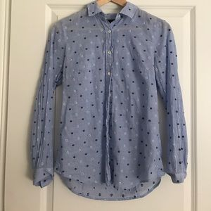 J. Crew Perfect Shirt in Embroidered Dot