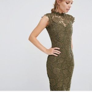 Asos Paperdoll Olive Green Lace Midi Dress