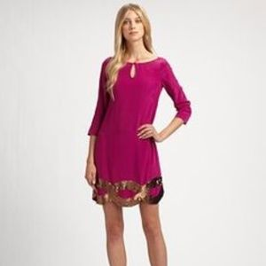 NEW Trina Turk silk  sequined shift dress 10