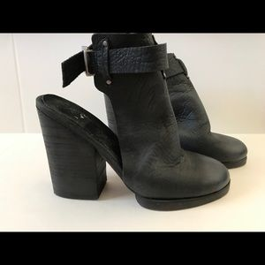 Free People Black Leather Ankle Strap Booties