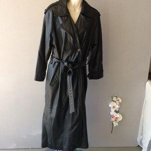 Wilson's full length black leather coat