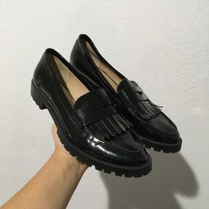 ZARA SZ 9 or 40 PATENT LOAFERS SHOES BLACK