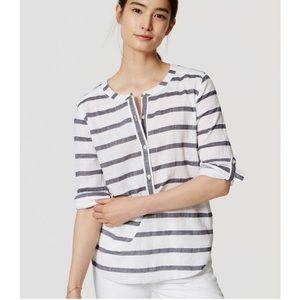 LOFT -the SOFTENED shirt- Striped Henley Blouse