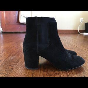 Zara Woman Black Suede Chelsea Boot