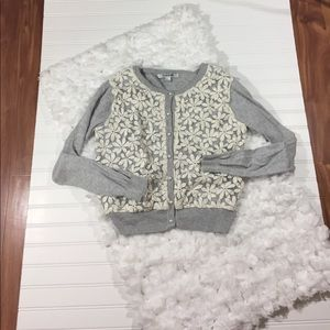 Forever 21 Cotton Embroidered Floral Cardigan