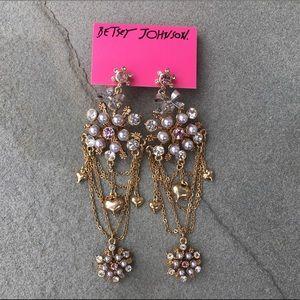 Betsey Johnson Rhinestone&Pearl Snowflake Earrings