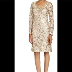 NWT Sue Wong Sequined Paisley Long Sleeve Dress