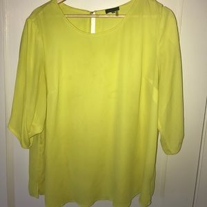 Citron yellow blouse with bell sleeves