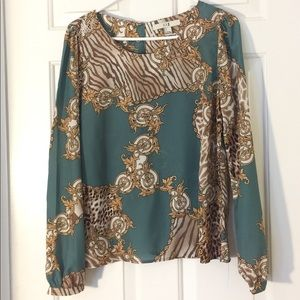 Mint Green Abstract Print Blouse