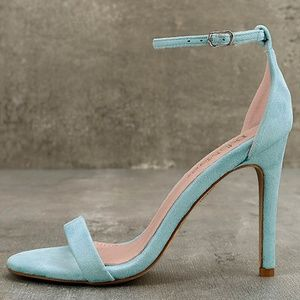 Ankle Strap Heels - Aqua Suede