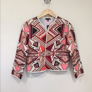 TOPSHOP Tapestry cropped jacket