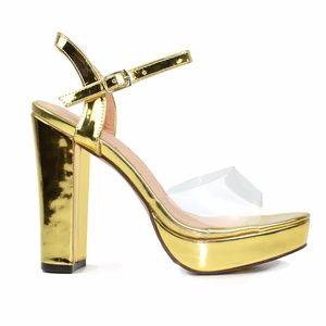 Chase & Chloe Tulsa-1 Gold Platform Sandal