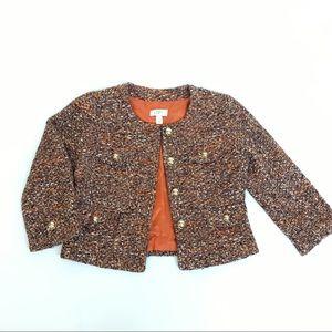 Loft women Tweed crop jacket, gold buttons, size 4