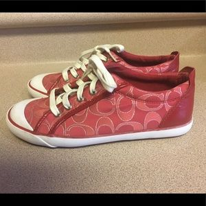 Women's Coach Barrett Red Signature Canvas Sz 8.5