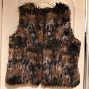 🆕Asos Curve Brown tan multi faux fur rabbit vest