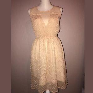 Zara Trafaluc Peach Textured Dress Medium