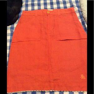 Orange linen skirt