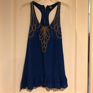 Free People cobalt blue gold embroidered rope top