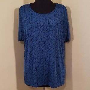 No-Iron Turquoise Cap-Sleeve Blouse, XXL