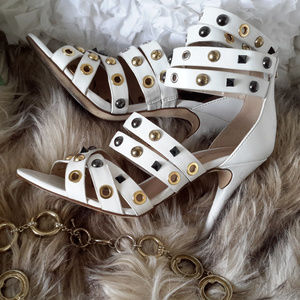 Bebe White Studded High Heels Size 7