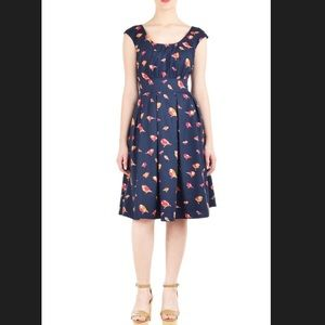 Eshakti Bird Print Cotton Poplin Dress
