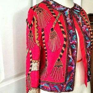 VINTAGE 💋Laurence Kazar Red Silk Beaded Jacket 💋
