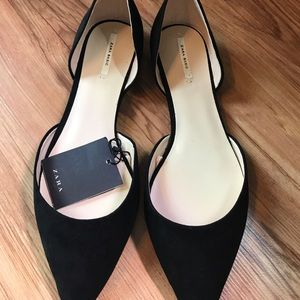 Black, suede, pointed flats by Zara