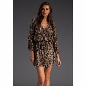Joie Brown Molly Silk Animal-print Dress