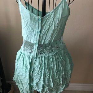 Tobi Mint Lace Detail Dress