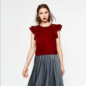 ZARA   Velvet Basics Ruffle Top