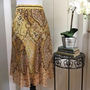 BANANA REPUBLIC Gold Paisley Silk Chiffon Skirt