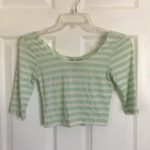 Mint green and white crop top