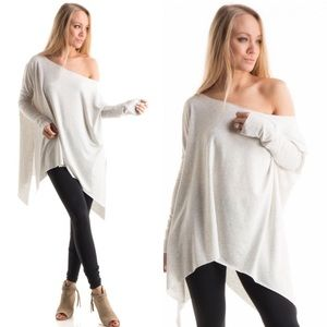 Tops - Off Shoulder Asymmetrical Hem Tunic