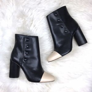 Zara Black Button Detail Zip Ankle Booties