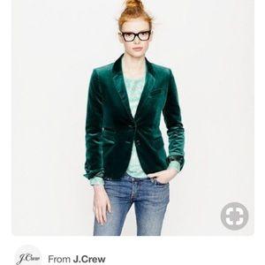 J.Crew schoolboy velvet blazer Boulevard green 2P