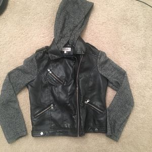 Leather jackets with cotton sleeves and hood