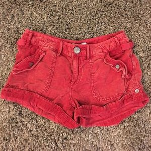 Free People Soft Corduroy Red Cargo Shorts