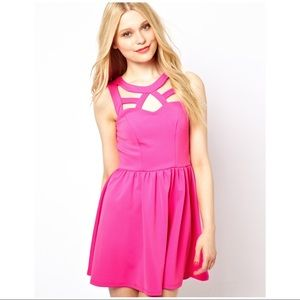 ASOS River Island Pink Cut Out Skater Dress