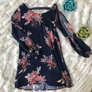 Open Sleeve Floral Navy Dress