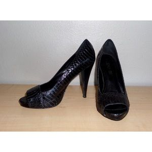 Aldo Snakeskin Peep Toe High Heels