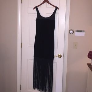 JS Collections Black Dress with Fringe