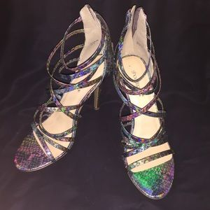 Faux snakeskin scrappy heeled sandals