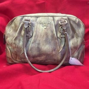 AUTHENTIC PRADA DISTRESSED LEATHER SATCHEL